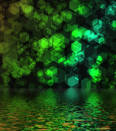 Green hexagon bokeh background reflected in water surface   photo