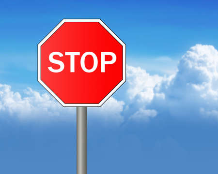 Stop sign on sky background  photo