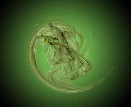 backlight:    Green abstract fractal with backlight on background on black