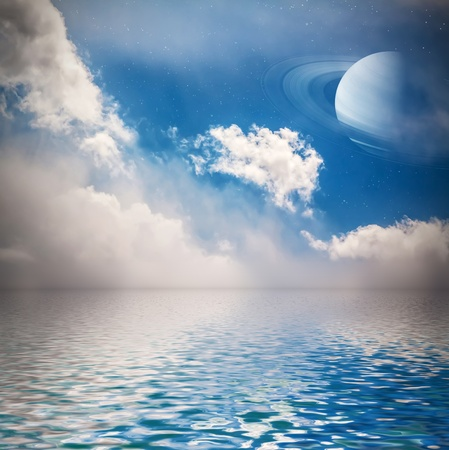 Sky with cloud, stars and planet reflected in water surface  Elements of this image furnished by NASA Stock Photo - 20735617