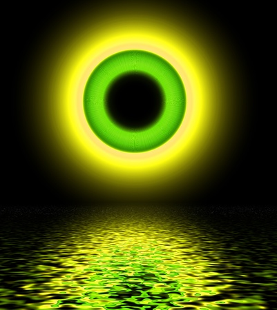 Abstract yellow-green circle, background  photo