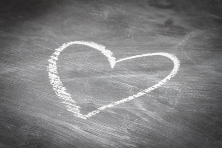 Heart shape chalk drawing on chalkboard  Stock Photo - 20735810