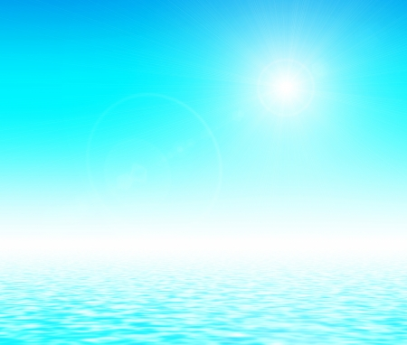 Sunlight over blue gradient and reflected in water surface Stock Photo - 20920465