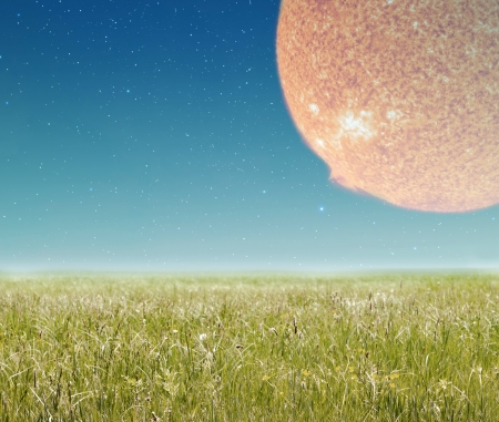 Landscape with fantasy planet in sky Stock Photo - 21021245