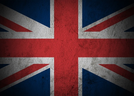 britain flag: La bandera de Gran Breta�a en fondo del grunge de cemento Foto de archivo
