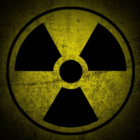 atomic symbol:    Ionizing radiation hazard symbol on grunge texture background