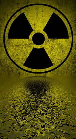 radioisotope:   Ionizing radiation hazard symbol reflected in water surface