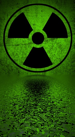 Ionizing radiation hazard symbol reflected in water surface   photo