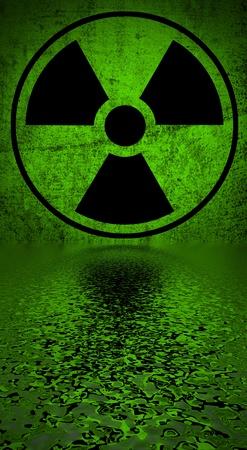 ionizing radiation risk:  Ionizing radiation hazard symbol reflected in water surface