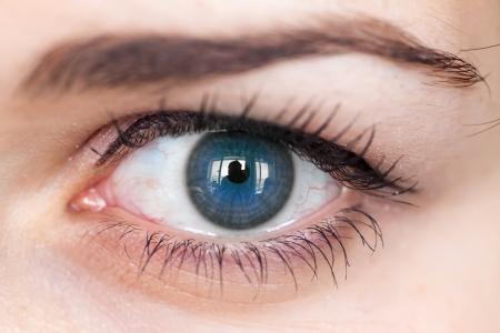 Menschliche blue eye mit Reflexion Makroaufnahme mit seichtem Schärfentiefe Standard-Bild - 21725478