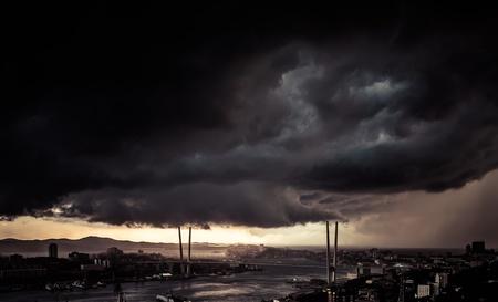 Vladivostok cityscape - storm over city  Toned image