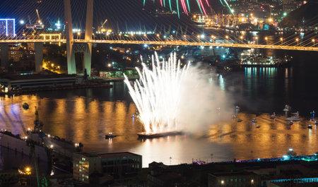 pyrotechnics:    VLADIVOSTOK, RUSSIA - SEPTEMBER 7  International Fireworks Festival in Vladivostok  The festival was attended pyrotechnics   team from Vladivostok, Moscow and China on September 7, 2013 in Vladivostok, Russia   Editorial