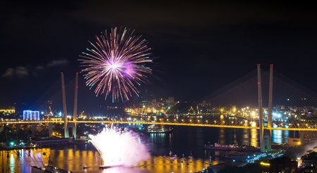 Colorful fireworks over city  photo