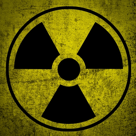 radiation hazard:   Ionizing radiation hazard symbol  Stock Photo