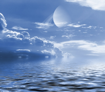 Sky with cloud and planet reflected in water surface  Elements of this image furnished by NASA   Stock Photo - 22532525