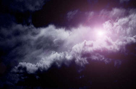 looming:  Space with nebula and bright star