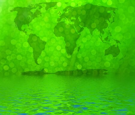 bionics:   World map reflected in water, continents in green bokeh background