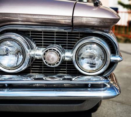 custom car: Headlight of a vintage car   Stock Photo