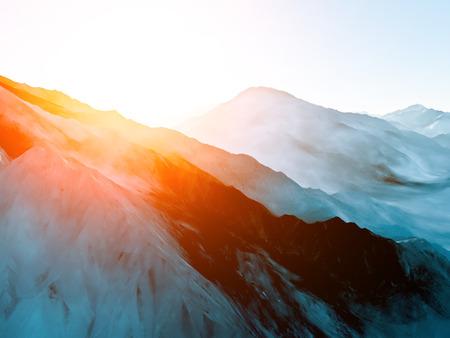The mountainous landscape with sun, 3D render