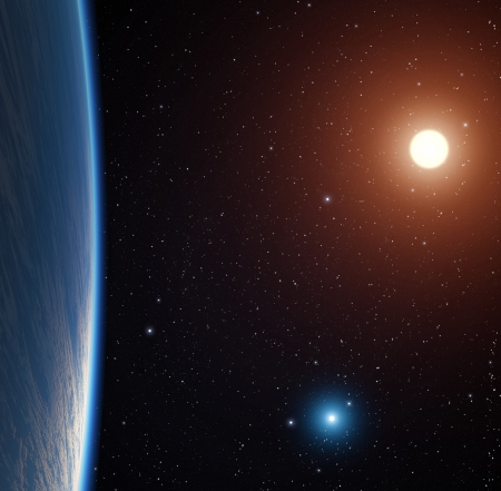 Planet with two bright stars  photo