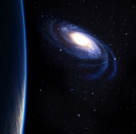 Blue planet with big beautiful galaxy