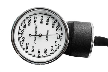 blood pressure bulb: Old blood pressure measurement tool, sphygmomanometer isolated on white  Stock Photo