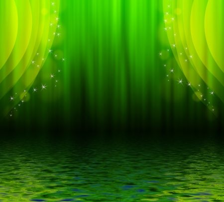 Illustration of a green curtain with stars reflected in water surface