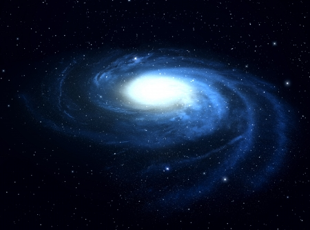 accretion:  Spiral galaxy in deep space