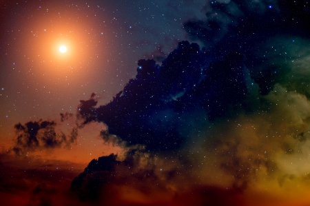Space background with nebula and bright star