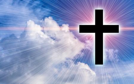 Cross silhouette against sky  Conceptual image  photo