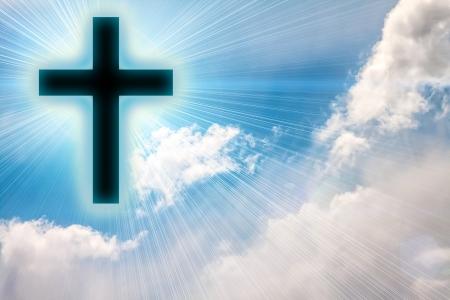 Cross silhouette against sky  Conceptual image  Banque d'images