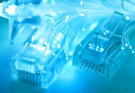 Network cables closeup with fiber optic  Shallow depth of field  Selective focus   Stock Photo