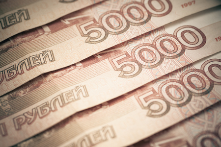 Background of five thousand russian rubles, close-up photo