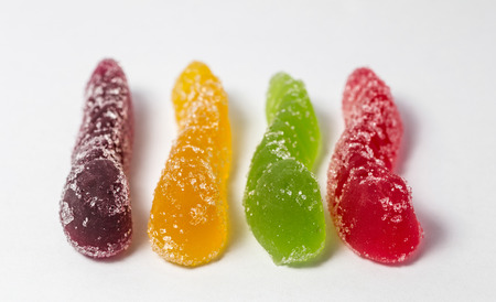 Colorful jelly candy on white background  Selective focus with shallow depth of field Stock Photo - 25641196