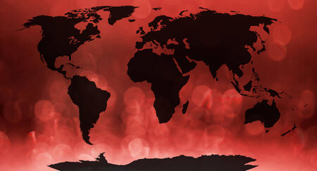 bionics: World map continents in red bokeh background