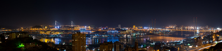Vladivostok cityscape, night view from east to west  photo