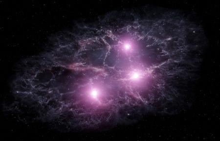 성운과 밝은 별이있는 우주 배경