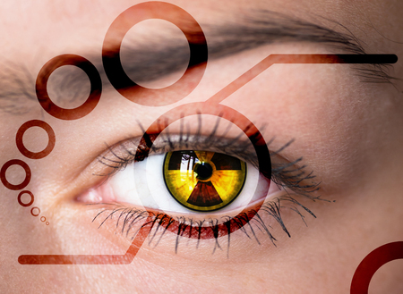 radiation hazard:  Human eye with radiation hazard symbol - concept photo