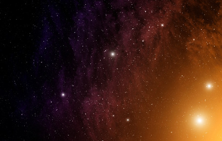 looming: Space background with orange nebula and stars
