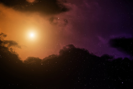 dense:  Space background with nebula and bright star