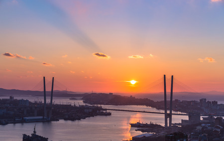 Vladivostok cityscape, sunset view  photo