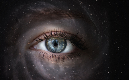 Space galaxy with human eye  Concept image   photo