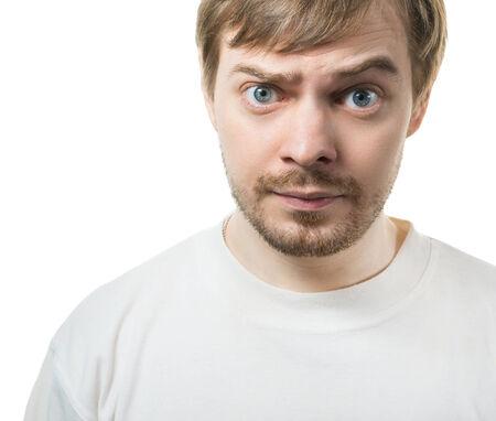 raised eyebrow:  Surprised face  Isolated on white   Stock Photo