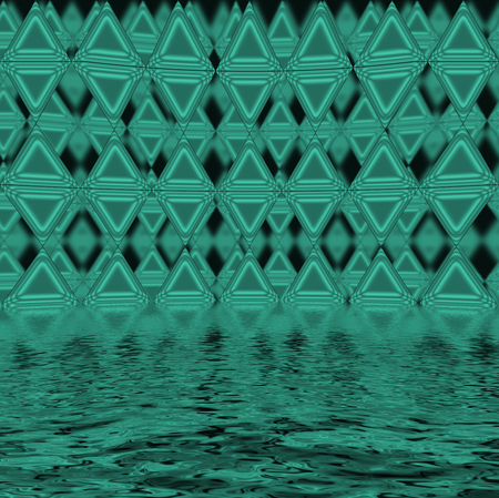 variegated:  Green triangles reflected in water surface, abstract background.