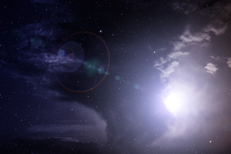 Space with nebula and bright stars. Stock Photo