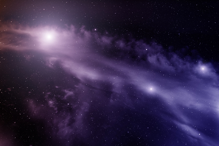 looming: Space with nebula and bright stars. Stock Photo