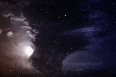 looming: Space with nebula and stars. Stock Photo