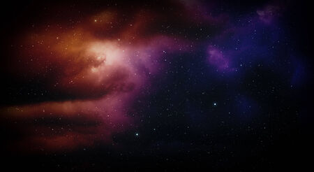 Space with nebula and stars. Stock Photo