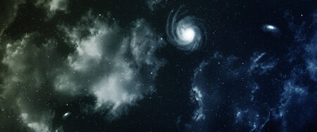 looming: Space panorama with nebula and galaxy.