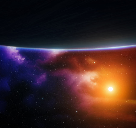 Blue planet with bright star and colorful nebula. photo